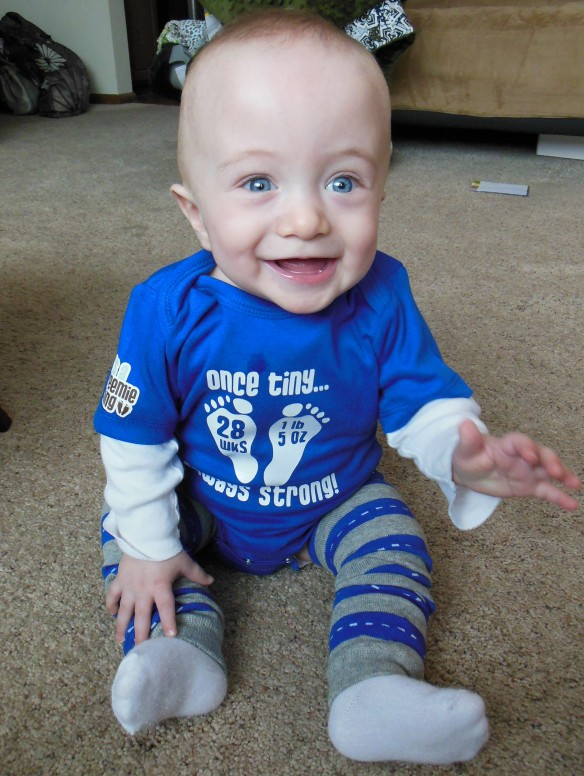 Couldn't wait to put on his It's A Preemie Thing shirt!